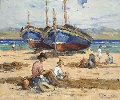Joaquim Terruella Matilla (1891-1957). Barques i pescadors arreglant xarxes a la platja.