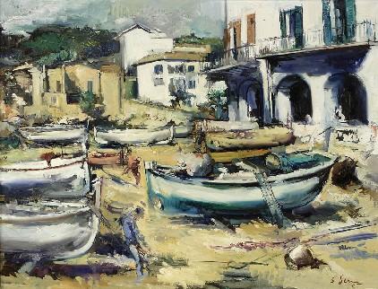 Joan Serra Melgosa (1899-1970). Barques de pescadors a la platja. Calella de Palafrugell.