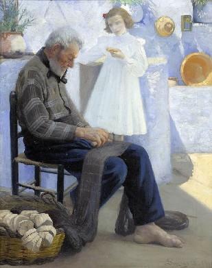 Francesc Pausas (1877-1944). Percador arreglant xarxes.