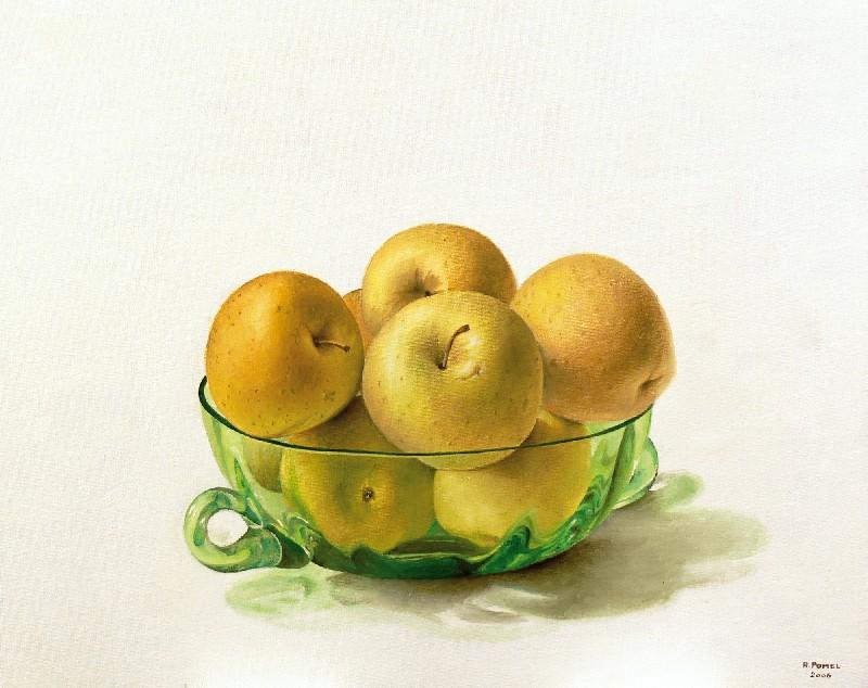 Fruitera de Vidre amb Pomes.