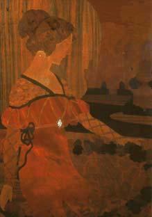 PLAFÓ DE MARQUETERIA: «Dona amb garlanda».
