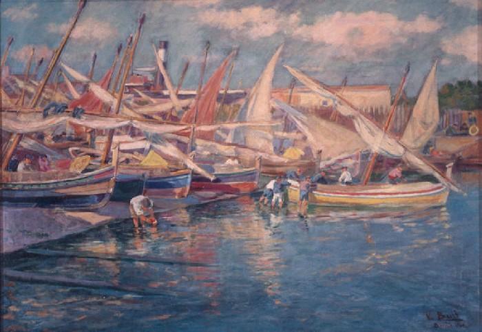 Joaquim Terruella Matilla (1891-1957). Barcas y pescadores arreglando redes en la playa