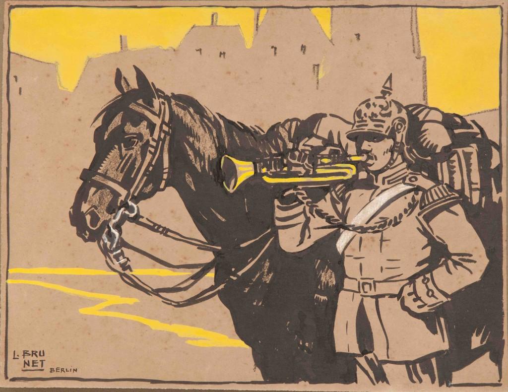 Un corneta de órdenes del ejército alemán- Berlín