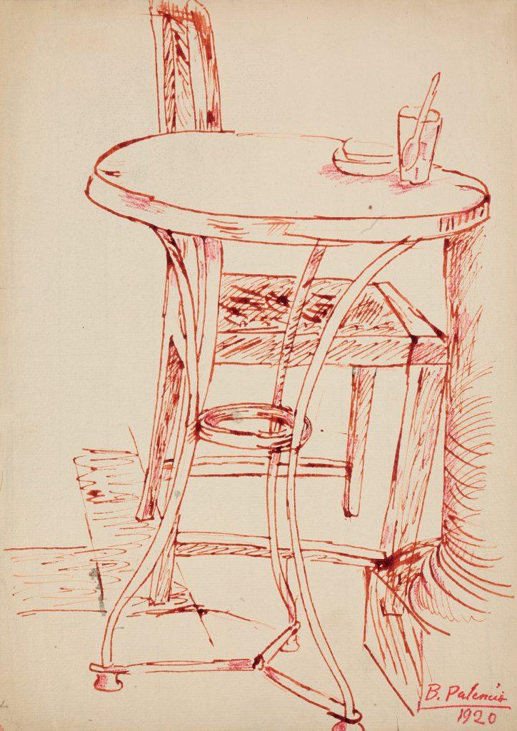 Mesa y silla de café