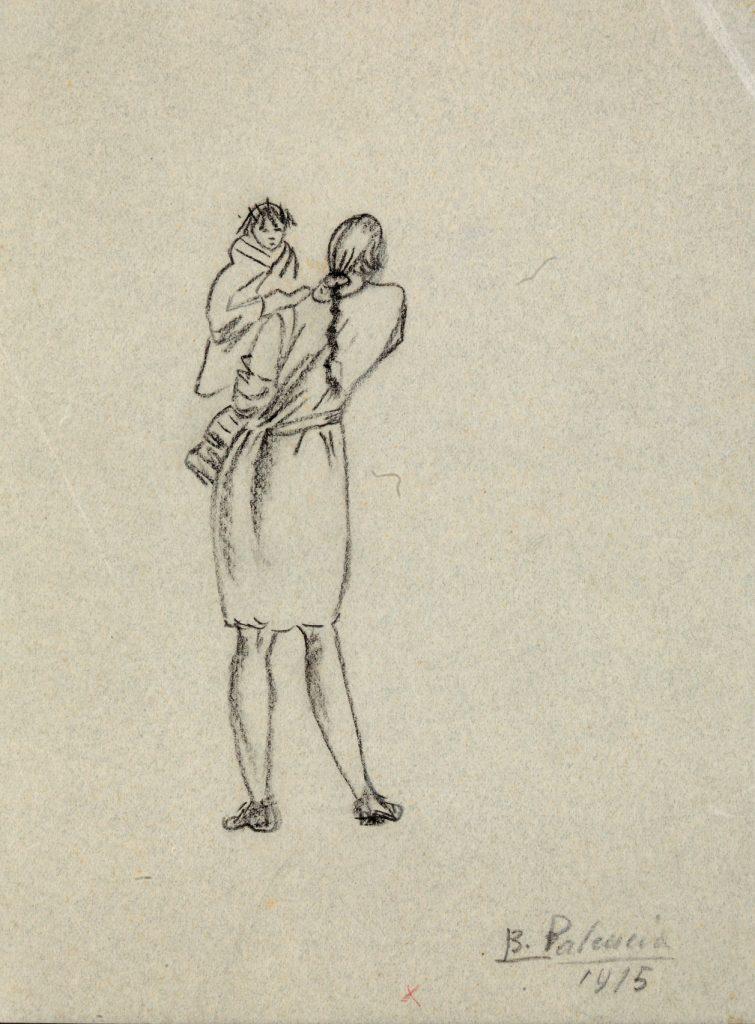 Muchacha con niña en brazos