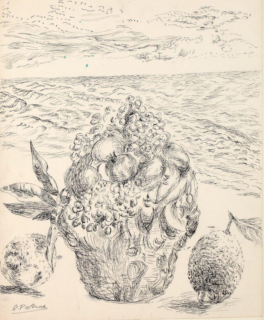 Cesta de frutas frente al mar